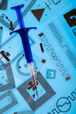 RFID-inplantingsspuit en RFID-markeringen Stock Fotografie