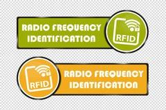 RFID-Knopen - Groene en Gele Vierkant en Cirkel - VectordieIllustratie - op Transparante Achtergrond wordt geïsoleerd vector illustratie