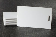 RFID white cards on countertop Royalty Free Stock Photos