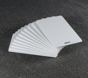 RFID white cards on countertop Stock Photos