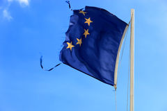480765RFM. Ripped EU flag fluttering in the wind Royalty Free Stock Photography