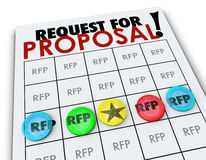 RFP Request for Proposal Bingo Card Business Competition. RFP Request for Proposal words on a bingo card to illustrate competition in business to win new Stock Photography