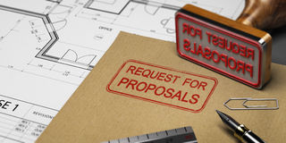 RFP, Request for Proposals. Request for proposals printed on a kraft envelop, with office supplies and rubber stamp, RFP concept. 3D illustration Stock Photography