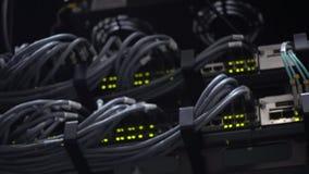 RG 45 Commutatore del pannello della rete con il lampeggiamento principale verde stock footage