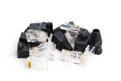 Rg 45 conectores isolados no branco foto de stock