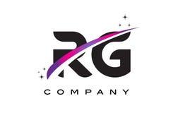 RG R G Black Letter Logo Design with Purple Magenta Swoosh Stock Photo