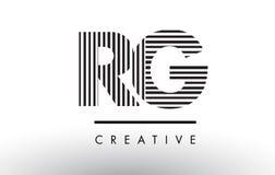 RG R G Black and White Lines Letter Logo Design. Stock Image