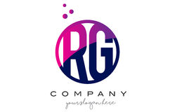 RG R G Circle Letter Logo Design with Purple Dots Bubbles Stock Photography