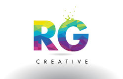 RG R G Colorful Letter Origami Triangles Design Vector. Royalty Free Stock Photo