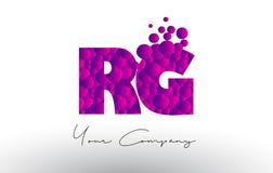 RG R G Dots Letter Logo with Purple Bubbles Texture. Stock Photos