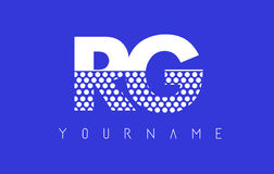 RG R G Dotted Letter Logo Design with Blue Background. Stock Image
