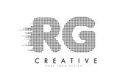 RG R G Letter Logo with Black Dots and Trails. Royalty Free Stock Image