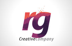 RG R G Letter Logo Design with Purple Forest Texture Flat Vector Stock Photography