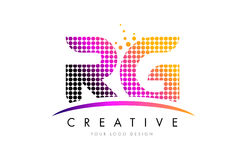 RG R G Letter Logo Design With Magenta Dots And Swoosh Royalty Free Stock Images