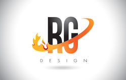 RG R G Letter Logo with Fire Flames Design and Orange Swoosh. Stock Images