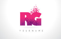 RG R G Letter Logo with Pink Purple Color and Particles Dots Des Stock Photos