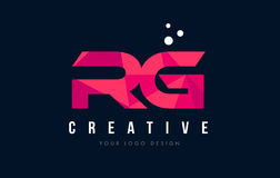RG R G Letter Logo with Purple Low Poly Pink Triangles Concept Stock Images