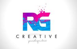 RG R G Letter Logo with Shattered Broken Blue Pink Texture Desig Royalty Free Stock Image