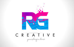 RG R G Letter Logo With Shattered Broken Blue Pink Texture Design Vector. Royalty Free Stock Image
