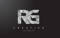 RG R G Letter Logo with Zebra Lines Texture Design Vector. Stock Photography