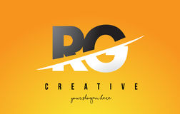 RG R G Letter Modern Logo Design with Yellow Background and Swoo Royalty Free Stock Photography