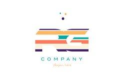Rg r g line stripes pastel color alphabet letter logo icon templ Royalty Free Stock Image