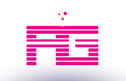 Rg r g pink purple line stripe alphabet letter logo vector templ Royalty Free Stock Photography