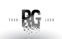 RG R G Pixel Letter Logo with Digital Shattered Black Squares Stock Image