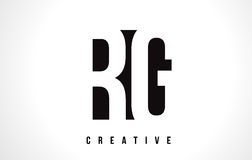 RG R G White Letter Logo Design with Black Square. Royalty Free Stock Photography