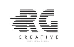 RG R G Zebra Letter Logo Design with Black and White Stripes Stock Photos