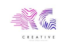 RG R G Zebra Lines Letter Logo Design with Magenta Colors Royalty Free Stock Images