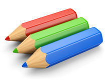 RGB铅笔概念 库存照片