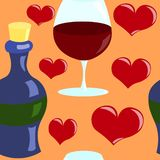 Seamless vector pattern with hearts and wine. Seamless vector pattern with wineglass, bottle and hearts on background royalty free illustration