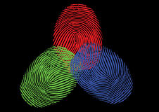 RGB. Red, Green, Blue fingerprint / thumbprint Stock Photos