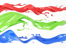 RGB. Definition of RGB color system. Three colors in the form of liquid on a white background royalty free illustration