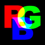 RGB. Color scheme with letters R, G and B Stock Photography