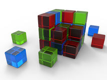 RGB acrylic cubes. 3D render illustration of multiple RGB acrylic cubes forming a cube. The composition is isolated on a white background with shadows Royalty Free Stock Image