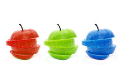 RGB Apple. RGB organic apples, photo is taken over a white background stock images