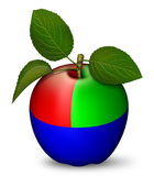 RGB Apple. Digital illustration of an apple as a RGB key Royalty Free Stock Images