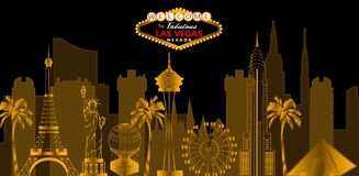 Las Vegas red and white lettering. Vector with skycrapers , travel icon stock illustration