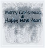 Merry Christmas & Happy New Year frosted window , vector vector illustration
