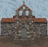 Old spanish stone church in visigothic style. vector. Illustration stock illustration