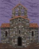 Old stone spanish church in visigothic style with bells. vector. Illustration vector illustration