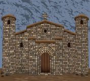 Old stone spanish  church in visigothic style with two stone towers. vector. Illustration vector illustration