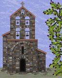 Old stone church with bells and arched entrance in visigoth styles and olive tree. Vector illustration vector illustration