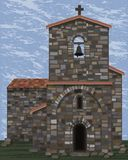 Old stone medieval church with bell and arched entrance in visigoth styles, vector. Illustration stock illustration
