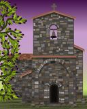 Old stone medieval church with arched entrance in visigoth styles, olive tree, vector. Illustration stock illustration
