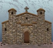 Ancient stone spanish  church in visigothic style with two stone towers. Vector illustration royalty free illustration