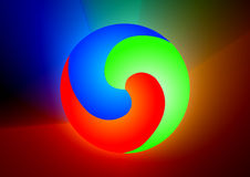 RGB ball. In colorful background royalty free illustration