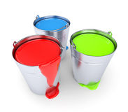 RGB - Buckets with a paint Stock Photos